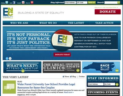 The new EqualityNC.org homepage